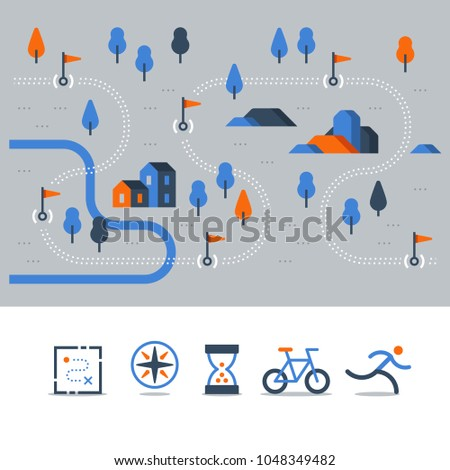 Outdoor running, trail map with flags, cycling route, countryside landscape, sport activity, vector icons, flat illustration