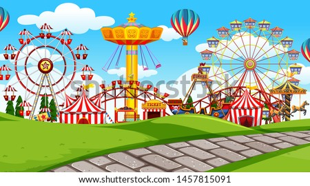 outdoor scene with amusement park illustration