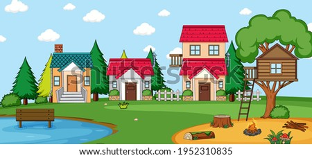 Outdoor scene with many houses in nature scene illustration Stockfoto ©