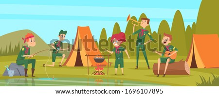 Outdoor scouts. Teacher studying little rangers survive in wild tree group of scouts in uniform sitting in camp events vector characters Stock photo ©