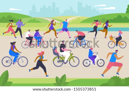 Outdoor sport activities flat vector illustration. Young men, women and children cartoon characters. Fresh air training, exercise, active recreation. Happy people cycling and jogging in city park