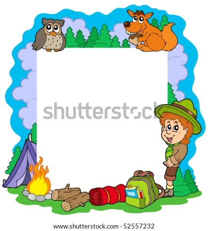 Outdoor summer frame - vector illustration.