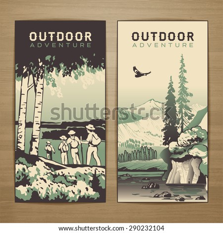 outdoor thematic vector card...