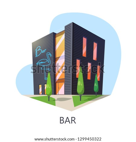 Outdoor view at bar building or taproom construction. Isometric saloon for alcohol or night drink and snack. Cartoon facade of barroom or beer house entrance with flamingo. Building architecture