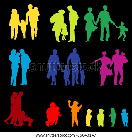 Outdoor walking Family silhouette. Mother, father with children, vector