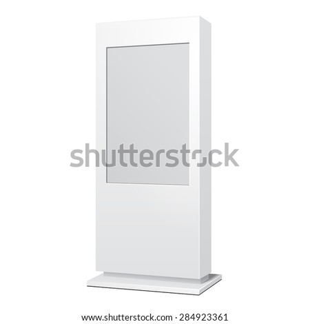 Outdoor White POS POI Citylight Lightbox Advertising Stand. Illustration Isolated On White Background. Mock Up Template Ready For Your Design. Vector EPS10