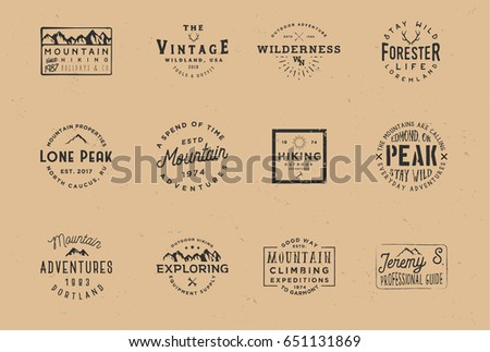 Outdoor wilderness logos, wanderlust badges. Set of mountain expedition badges, adventure labels. Vintage retro typography design