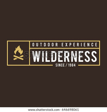 Outdoor Wilderness, Mountain Adventure Retro Emblem