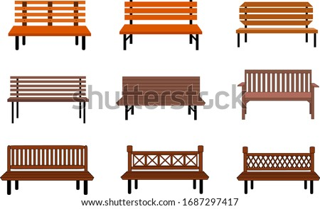 Outdoor wooden benches. isolated on white background. brown vector bench in flat style. Set Vector illustration. Сток-фото ©