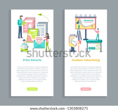 Outdoors advertising, print adverts vector. People working on posting advertisements, marketing and promotion, newspaper and magazines special offer