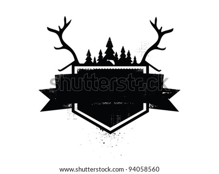 Outdoors Crest with trees, fish, water and antlers. - stock vector