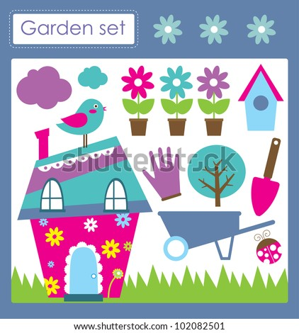 outdoors objects collection. vector illustration