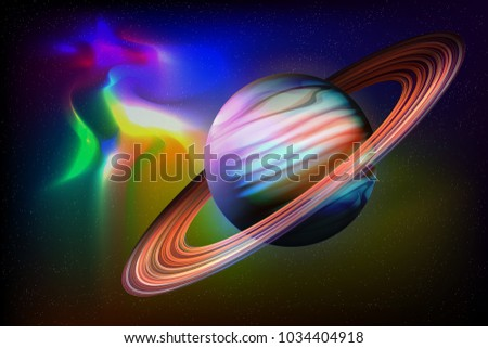 Outer space abstract background with amazing nebula galaxy and big Saturn planet on a million stars. Template vector illustration night sky rings deep glow light sun solar high quality orbit art blue