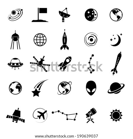 Royalty Free Space And Astronomy Icons Simple Flat 305023247