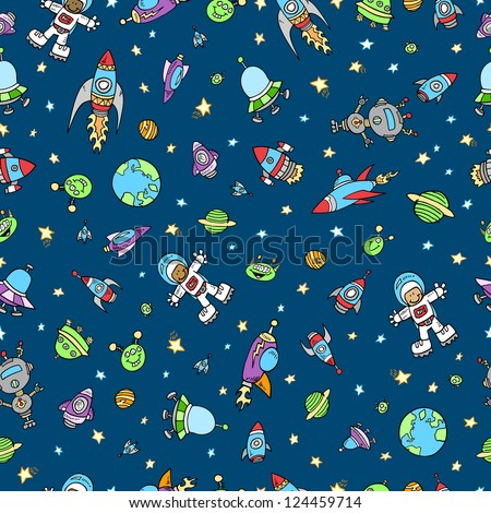Outer Space Doodle Seamless Pattern Vector - stock vector