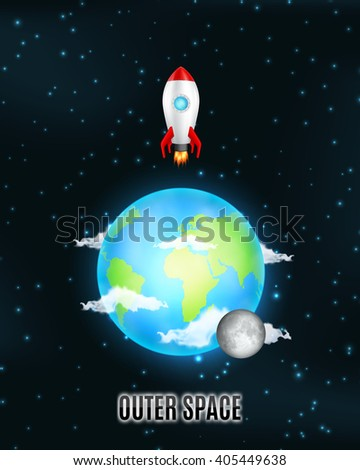 outer space earth and moon