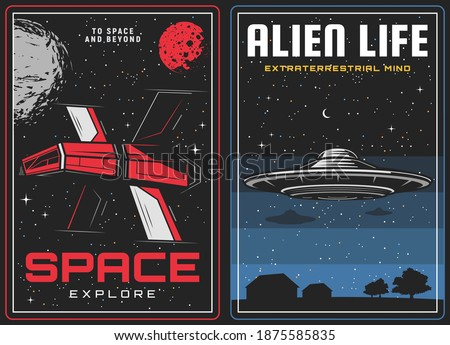 Outer space exploration, alien life visit banners. Future spaceship among stars, sci-fi spacecraft exploring galaxy and alien flying saucer on starry sky background vector. Space travel poster