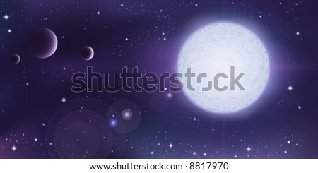 Outer space landscape - white star with several planets in foreground