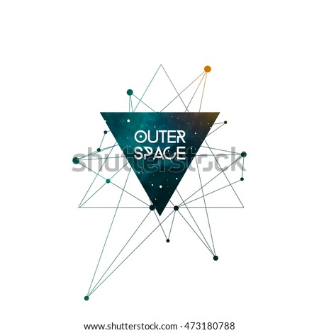 Outer Space scientific design template with copy space. Hipster triangles and molecule structure with space texture. Vector design for music albums, posters, flyers, web design and mobile application.