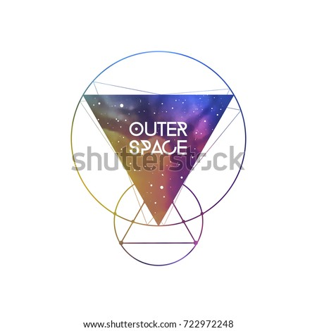 Outer Space scientific template with logo area. Hipster triangles and interlocking circles with space texture. Vector design for music albums, posters, flyers, web design and mobile application.