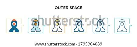 outer space vector icon in 6