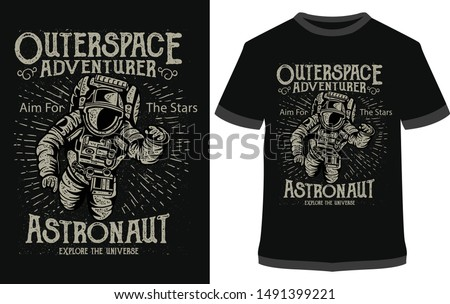 Outerspace Adventure, Outdoor Adventure  - Vintage Vector graphic typographic design for poster, label, badge, logo, icon or t-shirt