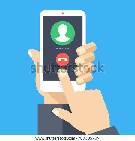 Outgoing call. White smartphone with call screen. Waiting for answer concept. Human hand holding cellphone, finger touching screen. Modern flat design graphic elements and objects. Vector illustration Сток-фото ©