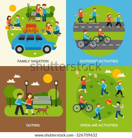 Shutterstock Outing design concept set with family vacation isolated vector illustration