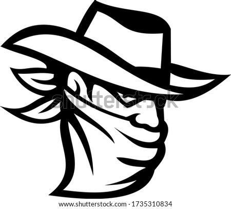 Outlaw or Bandit Wearing Face Mask Retro Black and White Photo stock ©