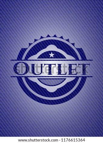 Outlet jean or denim emblem or badge background
