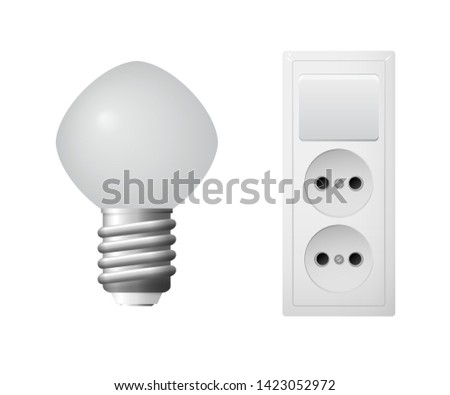 Outlet with plug, led light bulb. Set of household electrical equipment. Vector illustration.