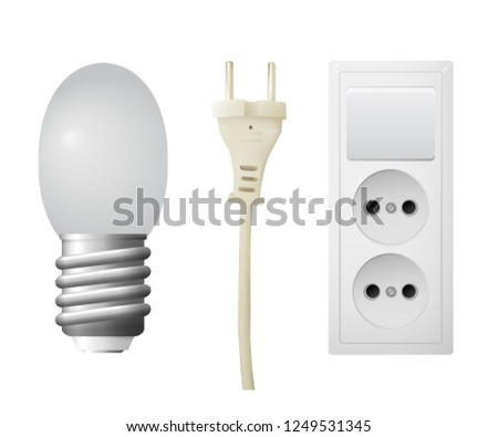 Outlet with plug, LED lightbulb. Set of electrical equipment. Vector illustration.