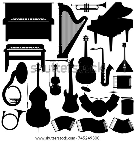 Outline a set of musical instruments. The illustration on a white background.