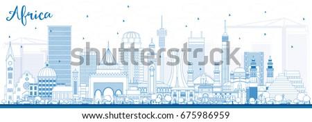 outline africa skyline with