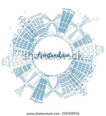 outline amsterdam city skyline