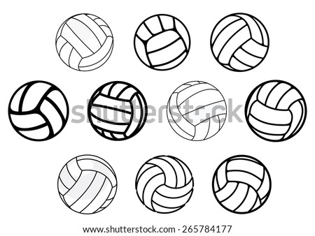 Outline and cartoon leather volleyball balls in blue, white and gray colors isolated on white background for sporting design
