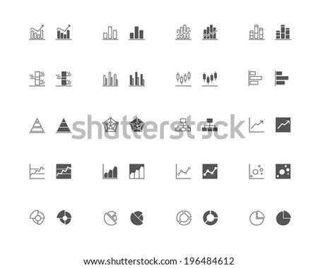 Outline and filled simple vector icons of graphic and charts. Transparent background, snapped to pixel shapes, fully scalable