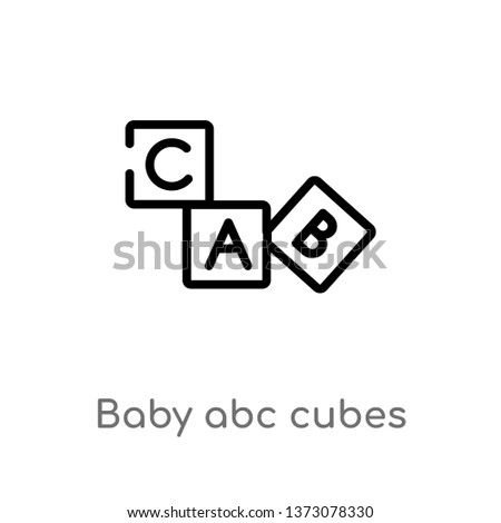 outline baby abc cubes vector icon. isolated black simple line element illustration from education concept. editable vector stroke baby abc cubes icon on white background
