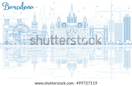 outline barcelona skyline with