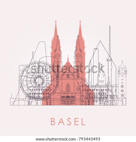 outline basel skyline with