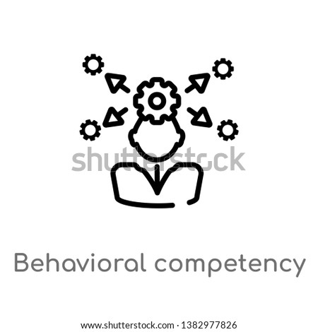 outline behavioral competency vector icon. isolated black simple line element illustration from human resources concept. editable vector stroke behavioral competency icon on white background