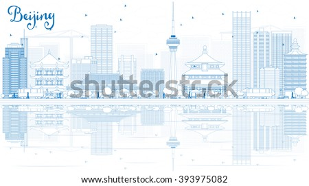 outline beijing skyline with