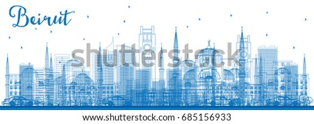 outline beirut skyline with