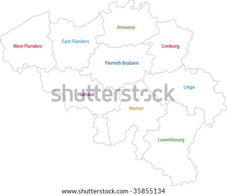 Outline Belgium map with provinces
