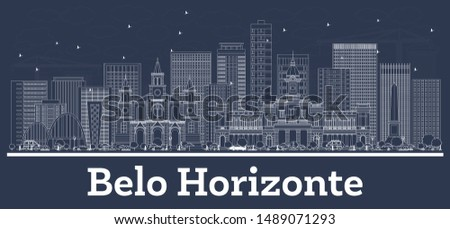 Outline Belo Horizonte Brazil City Skyline with White Buildings. Vector Illustration. Business Travel and Concept with Historic Architecture. Belo Horizonte Cityscape with Landmarks.