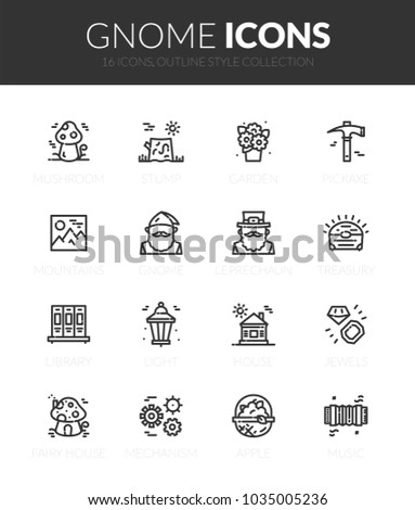 outline black icons set in thin