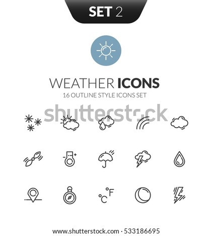 Outline black icons set in thin modern design style, flat line stroke vector symbols - weather forecast collection