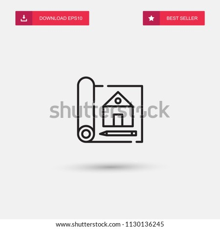 Outline Blueprint Icon isolated on grey background. Modern simple flat symbol for web site design, logo, app, UI. Editable stroke. Vector illustration. Eps10