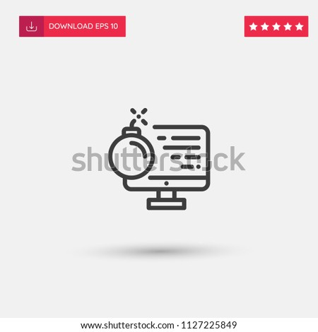 outline bomb icon isolated on...