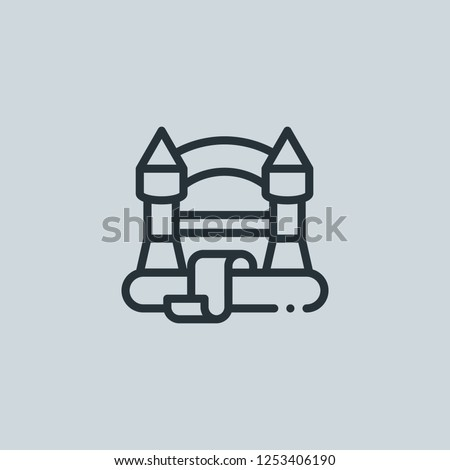 Outline bouncy castle vector icon. Bouncy castle illustration for web, mobile apps, design. Bouncy castle vector symbol.